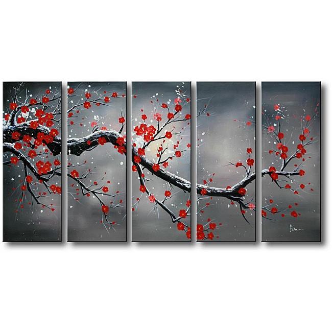 39 winter plum 39 5 piece oil hand painted canvas art set. Black Bedroom Furniture Sets. Home Design Ideas