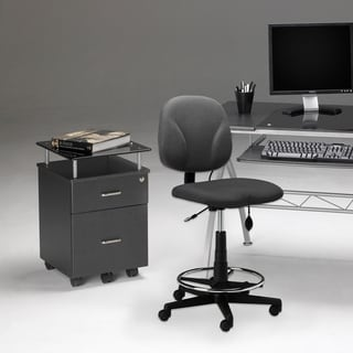 Mayline Vision Black Glass-top Two-drawer Mobile Pedestal File Cabinet