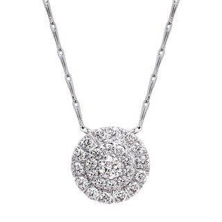 Beverly Hills Charm 14k White Gold 1/2ct TDW Diamond Cluster Halo Necklace (H-I, SI2-I1)