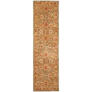 Handmade Mahal Sage/ Ivory Wool Runner (2'3 x 8')