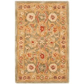 Handmade Mahal Sage/ Ivory Wool Rug (3' x 5')