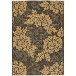 Indoor/Outdoor Black/Natural Floral Rug (4' x 5'7