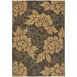 """Black/Natural Indoor/Outdoor Floral-Patterned Rug (7'10"""" x 11')"""