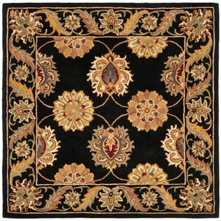 Handmade Heritage Mahal Black Wool Rug (6' Square)