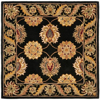 Handmade Heritage Mahal Black Wool Rug (8' Square)