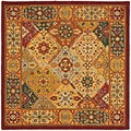 Handmade Diamond Bakhtiari Multi/ Red Wool Rug (6' Square)