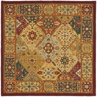 Handmade Diamond Bakhtiari Multi/ Red Wool Rug (8' Square)