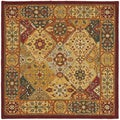 Handmade Diamond Bakhtiari Multi/ Red Wool Rug (8&#39; Square)