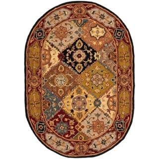 Safavieh Handmade Heritage Bakhtiari Multicolored/ Red Wool Oriental Rug (4'6 x 6'6 Oval)