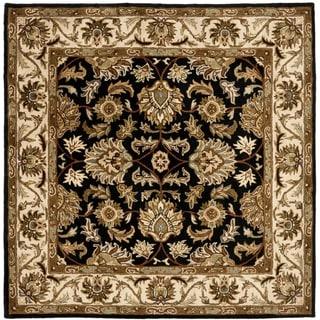 Safavieh Handmade Heritage Kashan Black/ Beige Wool Rug (6' Square)