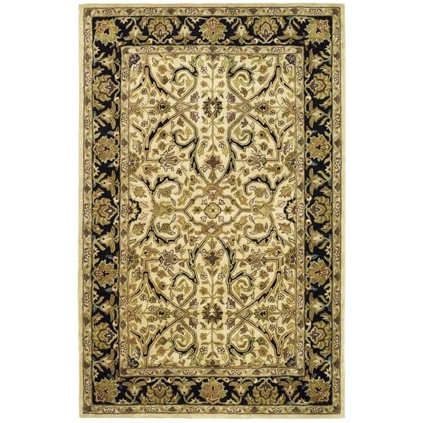 Safavieh Handmade Heritage Treasures Ivory/ Black Wool Rug (6' x 9')