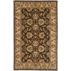 Handmade Heritage Treasure Brown/ Ivory Wool Rug (3' x 5')