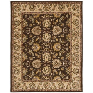 Handmade Heritage Treasure Brown/ Ivory Wool Rug (5' x 8')