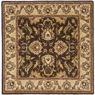 Handmade Heritage Treasure Brown/ Ivory Wool Rug (6' Square)
