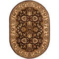Handmade Heritage Treasure Brown/ Ivory Wool Rug (7'6 x 9'6 Oval)