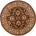 Handmade Heritage Treasure Brown/ Ivory Wool Rug (8' Round)