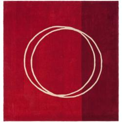 Handmade Rodeo Drive Circle of Life Red/ Ivory N.Z. Wool Rug (6' Square)