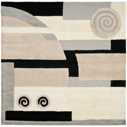 Handmade Rodeo Drive Soho Ivory/ Gray N.Z. Wool Rug (6' Square)
