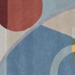 Handmade Rodeo Drive Deco Blue/ Multi N.Z. Wool Rug (6' Square)