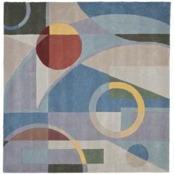 Handmade Rodeo Drive Deco Blue/ Multi N.Z. Wool Rug (8' Square)