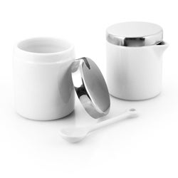 White Porcelain 2-jar Sugar and Creamer Set