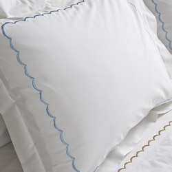 Scallop Embroidery 300 Thread Count Cotton Percale Sheet Set