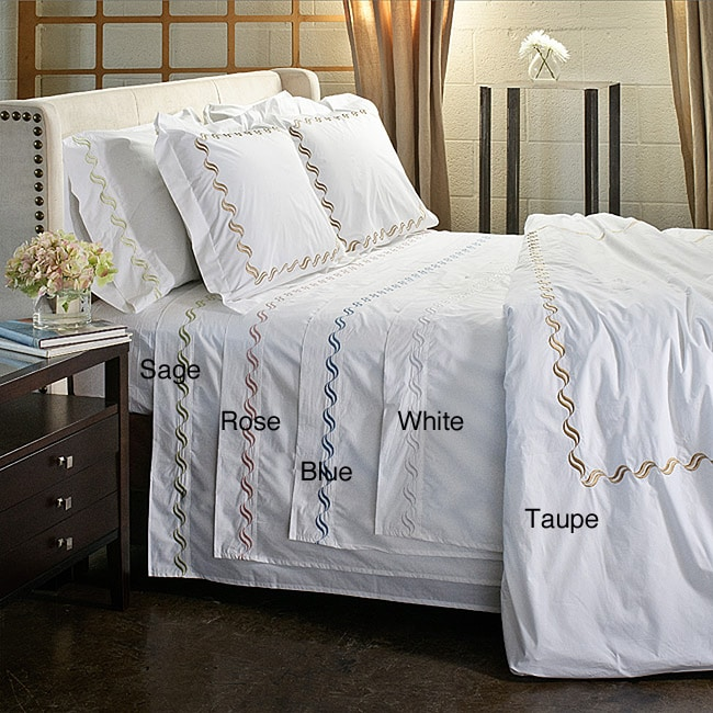 Scroll Embroidery 300 Thread Count Cotton 3 Piece Duvet