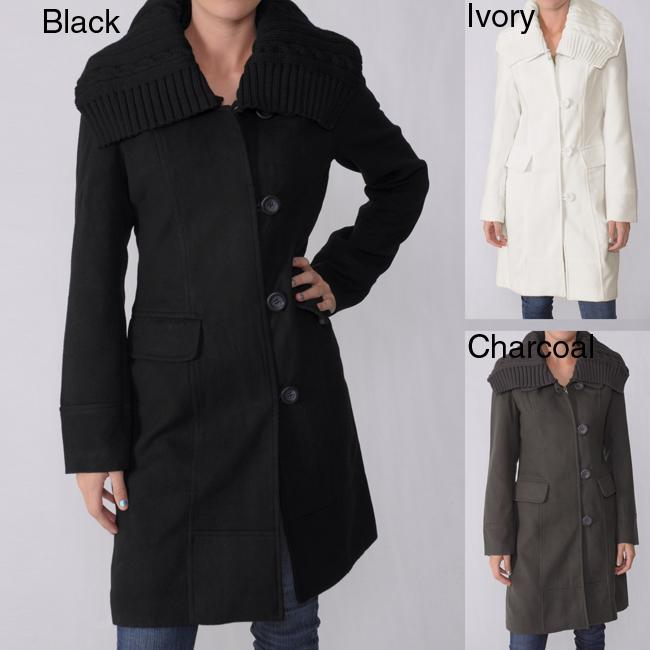 Ci Sono by Adi Junior's Knit Collar Wool Blend Coat