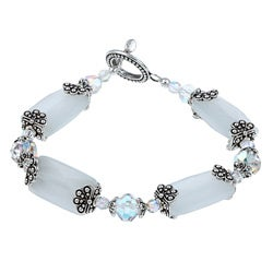 Pewter White Fiber Optic Bead and Crystal Bracelet