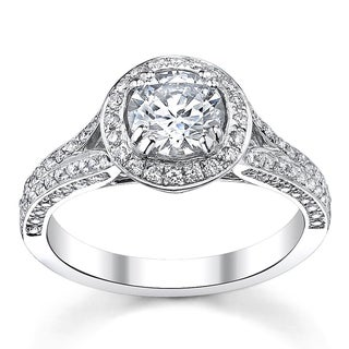 14k White Gold 1 1/2ct TDW Diamond Halo Ring (H-I, SI1-I1)