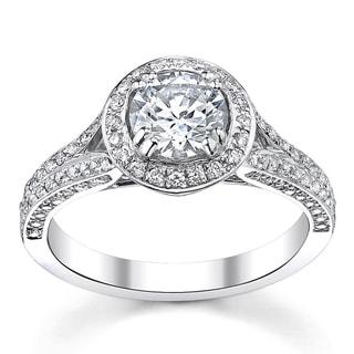 14k White Gold 1 1/2ct TDW Diamond Halo Ring (H-I, SI1-I1)