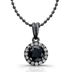 14k White Gold 3/4ct TDW Black and White Diamond Halo Necklace (I-J, I1)