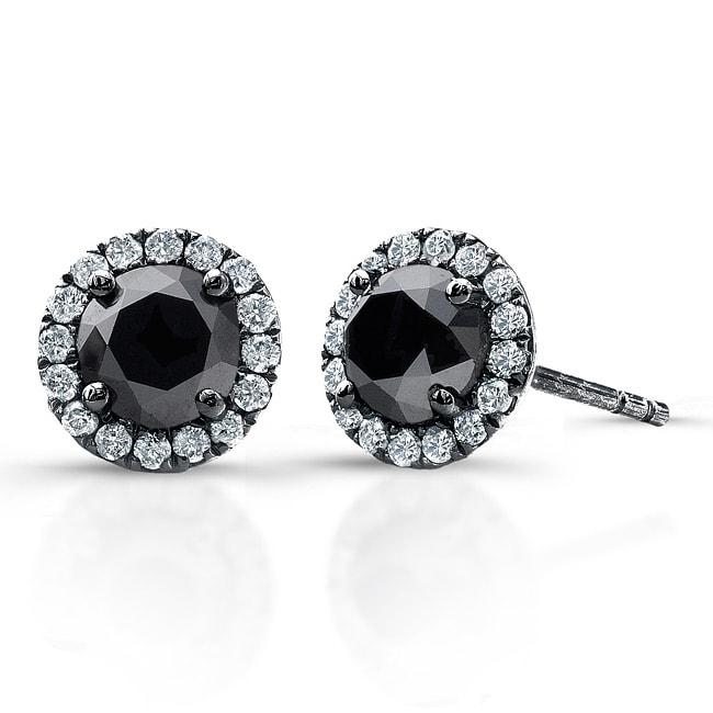 14k White Gold 3/4ct TDW Black and White Diamond Halo Earrings(I-J, I1)