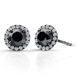 14k White Gold 3/4ct TDW Black and White Diamond Halo Earrings(I-J, I1)