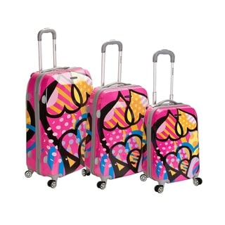 Rockland Vision Pink Heart 3-piece Hardside Spinner Luggage Set