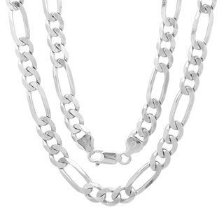 Sterling Essentials Sterling Silver 7mm Diamond-Cut Figaro Chain (24-inch)