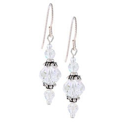 Argentium Silver AB Crystal Earrings