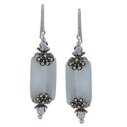 MSDjCASANOVA Pewter White Fiber Optic and Crystal Earrings