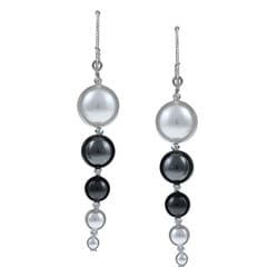 MSDjCASANOVA Argentium Silver Pearl Dangle Earrings