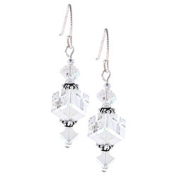 MSDjCASANOVA Argentium Silver AB Cube Crystal Earrings