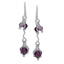MSDjCASANOVA Argentium Silver Amethyst-colored Crystal Wave Earrings