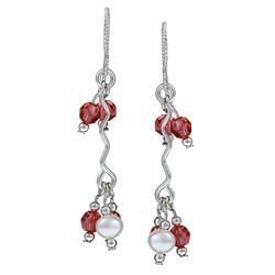 MSDjCASANOVA Silver Crystal and Freshwater Pearl Wave Earrings (4 mm)