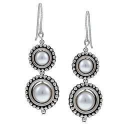 Pewter Circle Frame and White Crystal Pearl Earrings