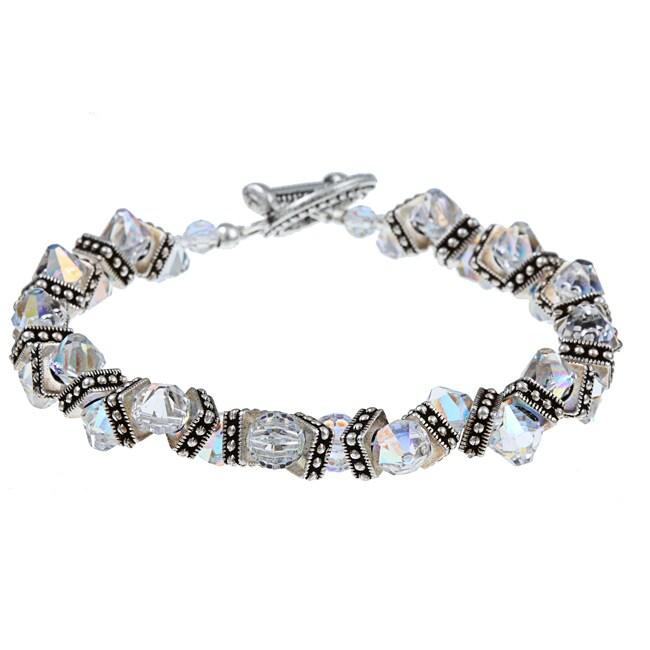MS DJ Casanova Pewter ZigZag AB Clear Crystal Bracelet