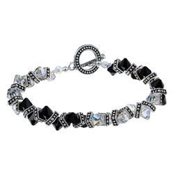 Zigzag AB Clear and Black Swarovski Crystal Bracelet