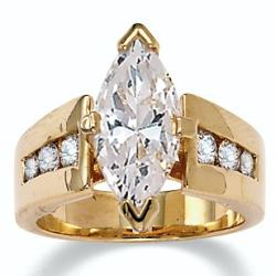 PalmBeach CZ 18k Gold over Sterling Silver Marquise and Round Cubic Zirconia Ring Glam CZ