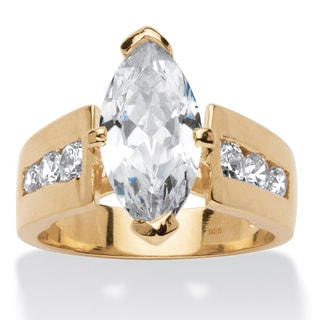 PalmBeach 2.89 TCW Marquise-Cut Cubic Zirconia 18k Gold over Sterling Silver Ring Glam CZ