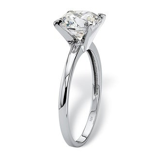 PalmBeach CZ 10k White Gold Cubic Zirconia Solitaire Ring Classic CZ