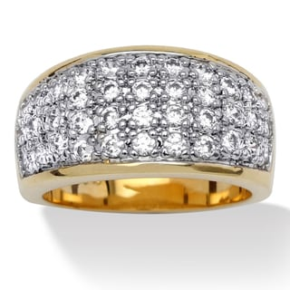 Ultimate CZ 14k Gold Overlay Pave-set Cubic Zirconia Ring