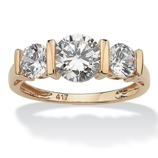 PalmBeach 2.50 TCW Round Cubic Zirconia 10k Gold 3-Stone Bridal Engagement Ring Classic CZ